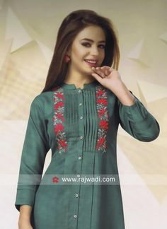 Readymade Cotton Tunic - All About Tunic Designs, Kurta Designs Women, Designs For Dresses, Salwar Designs, Kurti Embroidery Design, Embroidery Suits, Embroidery Fashion, Hand Embroidery, Kurti Sleeves Design