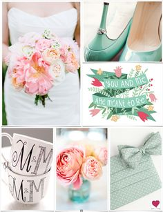 Mint, Peach, Pink & Black Wedding Ideas, Inspiration Board