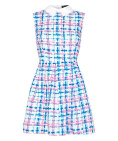 Look at this Pink & Blue Gingham Collared Fit & Flare Dress on #zulily today!