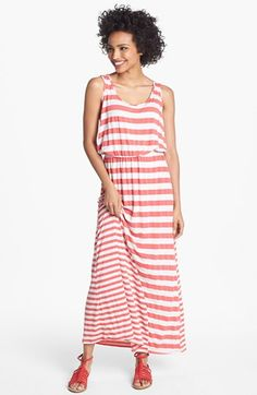 Everleigh side ruched stripe maxi dress