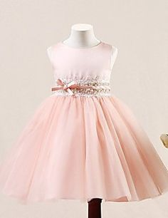A-line Short / Mini Flower Girl Dress - Tulle Sleeveless Jewel with Buttons / Sequins – USD $ 71.99