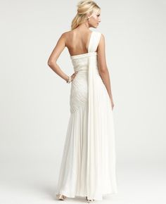 Ann Taylor - AT Wedding Dresses - Silk Georgette Radiating Pleats One Shoulder Wedding Gown
