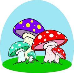 Cartoon Mushrooms   Mushrooms Clipart Image - Colorful cartoon mushrooms in a mushroom ...