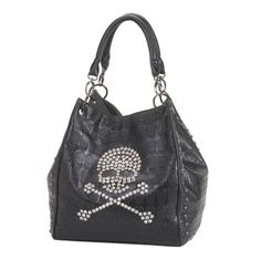 Rockin' Skull Tote Handbag Carrying this cool black tote handbag will add some rock-n-roll attitude to your outfit. The bag features a crystalline skull and cross bones on top of the black-on-black skull pattern, edged with stud detailing.