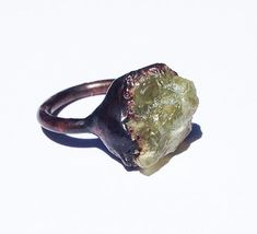 Green Tulloch Ring Electroformed Copper with Apatite Crystal from Studio Jardine.