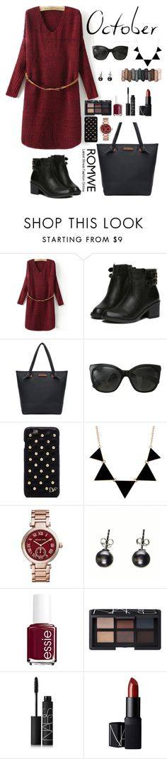"""""""Romwe 7"""" by amra-f ❤ liked on Polyvore featuring Chanel, Diane Von Furstenberg, Michael Kors, Essie, NARS Cosmetics and Urban Decay"""