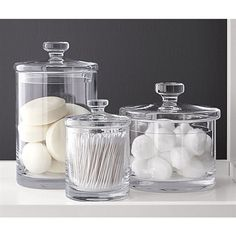 Sale ends soon. Shop Set of 5 Glass Canisters. Simple bathroom storage with a retro feel. Handmade glass canisters with nesting lids update a classic apothecary look. Bathroom Organisation, Bathroom Storage, Makeup Organization, Organized Bathroom, Storage Jars, Makeup Storage, Storage Boxes, Storage Organization, Bathroom Furniture