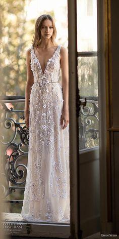 eisen stein 2018 bridal sleeveless deep v neck full embellishment romantic modified a line wedding dress open back (6) mv