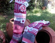Wool socks Hand knit knee socks handknitted by WillowFairyJewelry