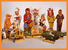 Hand crafted wooden cajun nativity