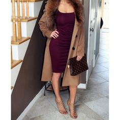 Fall Outfit - Dress and coat Dope Outfits, Classy Outfits, Fashion Outfits, Womens Fashion, Fashion Trends, Fall Winter Outfits, Autumn Winter Fashion, Look Girl, Looks Chic