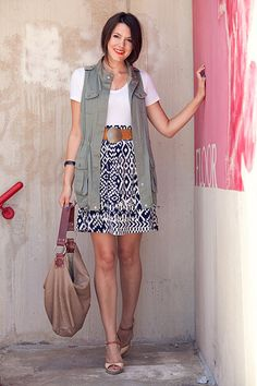 Five Bamboo Top, Madewell Vest, ModCloth Ikat Get Enough Skirt, Vintage Belt, and Banana Republic Bag by Kendi Everyday