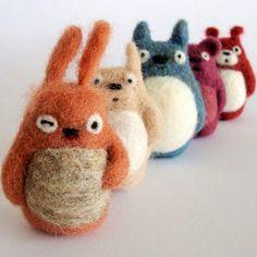 Felt toys that look like Totoros
