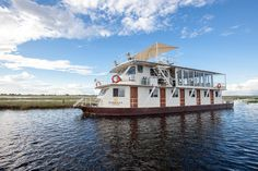 The Pangolin Voyager Houseboat operates within the Chobe National Park. Chobe National Park, National Parks, Relaxing Holidays, Go Game, Before Sunset, Plunge Pool, Boat Design, Great View, Stargazing