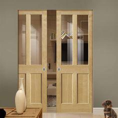River Oak Severn Oak Absolute Evokit Double Pocket Doors - Clear Glass