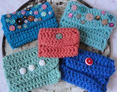 Crochet Wallet/Coin Purse with Button Closure.