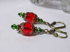 Red and Green Earrings. Victorian Christmas. by VickieJoesJewels