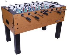 Carrom 750.33 Burr Oak Foosball Table by Carrom. $509.96. Amazon.com                Blending a classic and stylish design with the latest foosball features, the Burr Oak foosball table looks as good as it performs. The sturdy cabinet is covered with 1-inch-thick Burr Oak Melamine, which fits in a variety of decors. The table also includes a colorful 0.375-inch playing surface with enamel screen-printed graphics designed to resist wear over time. The players are even...