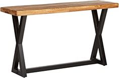 Ashley Furniture Signature Design - Wesling Casual Sofa Table - Mango Wood Top with Trestle Base - Light Brown -- See this great product. (This is an affiliate link) Shelving Design, Storage Design, Grey Sofa Bed, Couch, Diy Sofa Table, Affordable Furniture, Signature Design, Handmade Furniture, Living Room Furniture