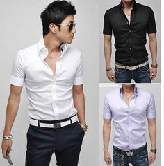 mens shirt Slim Fit casual blouse Korean style cotton Dress tops short Sleeve male leisure clothes 2013 fashion-in Dress Shirts from Apparel  Accessories on Aliexpress.com $11.99