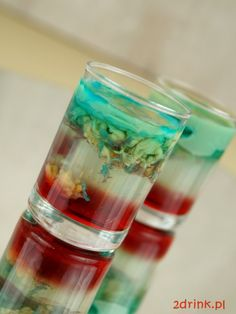 Brain Hemorrhage, Blue Curacao, Drinking Games, Cocktails, Drinks, Coffee Beans, Halloween Party, Shot Glass, Food And Drink