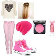 """light pink waterfall"" by hodan-dahir on Polyvore #Pink #Converse #all #Star"