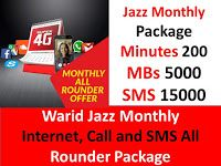 Warid Jazz Monthly Internet Call And Sms All Rounder Package Internet Call Sms Internet Packages