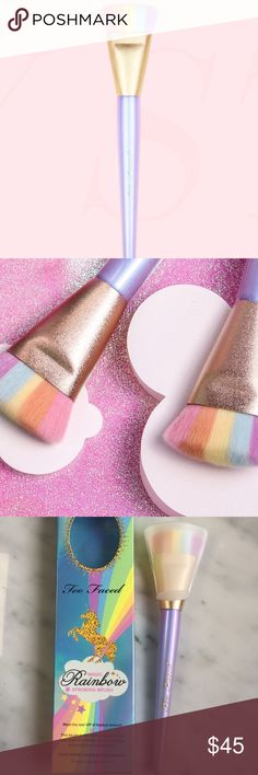 🌈✨TOO FACED MAGIC RAINBOW STROBING BRUSH🌈✨ **PSA: MY CLOSET = MY PRICES. Thank you!**  Meet the real VIP of festival season—this brush is the ultimate high-profile way to get the perfect strobe, highlight, and multidimensional glow.  DETAILS •Densely packed teddy bear bristles are 100% vegan •Aligns with rainbow highlighter for perfectly matched  application •Can also be used for contouring Too Faced Makeup Brushes & Tools