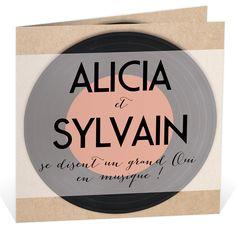 Faire part mariage sous forme de pochette de vinyle pour une invitation tendance et vintage, ref N45124