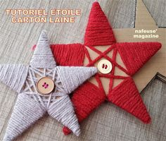 Tutoriel faire une étoile de Noël avec du carton et de la laine. Felt Christmas Decorations, Christmas Signs Wood, Christmas Ornament Crafts, Diy Christmas Cards, Christmas Star, Handmade Christmas, Christmas Wreaths, Christmas Crafts, Natal Diy