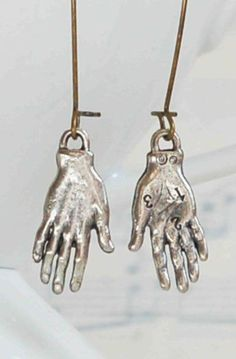HAND EARRINGS Silver Frida Kahlo Whimsical Palmistry Fortune Teller Jewelry