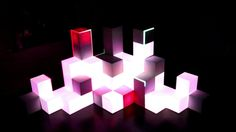 "Live 3D video mapping project  ""53 cubes session"". After some testing with videomapping we build this set.  53 cubes live controlled and mix..."