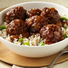 Hawaiian Meatballs and Rice... Get a taste of Hawaii with this tender meatball recipe simmered in barbecue sauce and crushed pineapple that only takes 15 minutes to prepare