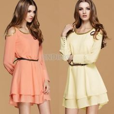 $11.30 Chain Embellished Collar Long Sleeve Chiffon Fitting Dress With Belt 2 Colors