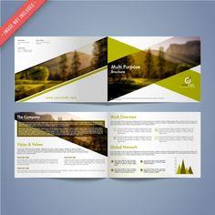 Business brochure with green elements Premium Vector