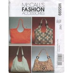 Amazon.com: McCall's Patterns M5599 Handbags, One Size Only: Arts, Crafts & Sewing