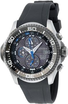 Sale Off 25% Citizen Men's BJ2117-01E Eco-Drive Depth Meter Chronograph Metric Rubber Dive Watch