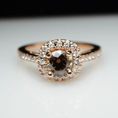 Unique Cognac Brown Diamond Engagement Ring in 14k Rose Gold  Layaway Available by JamieKatesJewelry on Etsy https://www.etsy.com/uk/listing/204756426/unique-cognac-brown-diamond-engagement