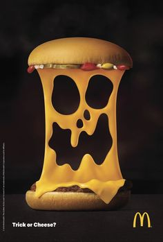 "McDonald's always makes clever Halloween ads. This year is no exception, with DDB Finland rolling out this ""Trick or Cheese"" campaign th. Restaurant Advertising, Coffee Advertising, Food Advertising, School Advertising, Advertising Poster, Advertising Design, Advert Design, Product Advertising, Creative Advertising"
