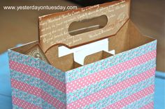 Washi tape caddy - re-purposed 6-pack holder - this would be great for straws and party utensils!