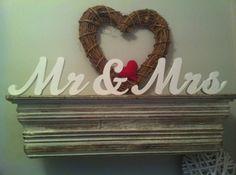 10cm Handpainted Freestanding Wedding Letters - Mr & Mrs - N