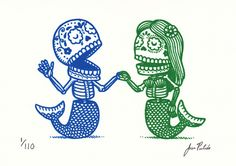 Calaveras Sirenas Gocco Print | Flickr - Photo Sharing!