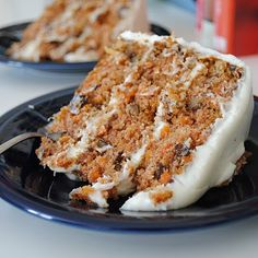 Hands down, best Carrot Cake I've ever had IN MY LIFE! I didn't follow this recipe for the frosting, instead I made some homemade cream cheese icing with one softened bar of cream cheese, 1/4 cup of softened of butter, 1 cup of confectioner's sugar, and a little vanilla and mix. That stuff tastes like cheesecake batter instead of gross, too sugary frosting. SO good! You might want to double that frosting recipe if you like a lot of frosting, though. :)