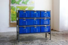 3 x 3 Vintage Locker Basket Unit with Royal Blue Drawers and Natural Steel Frame - Go Dodgers!