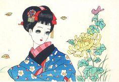 中原淳一 Junichi Nakahara - Postcard - Flower ...[]...