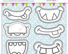 Monster Grins Cute Digital Line Art Stamps, Black and White Line Art, Digital Stamps, Monster Face, Monster Smiles Stamps - Birthday Party Monster Birthday Parties, Monster Party, Birthday Party Favors, Easy Crafts For Kids, Art For Kids, Monster Eyes, Black And White Lines, Cute Monsters, Digital Stamps