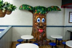 This vintage apple pie tree, as of 2014, is standing in Reno, Nevada near the Silver Legacy. Serving as a reminder to McDonaldland in what appears to be an otherwise bland setting, this seating area is designed for children.