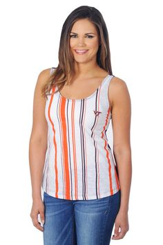 2855adf67af54 Show off your Jayhawks pride this season in our super stylish Kansas  Jayhawks Striped Tank! Printed royal blue and crimsons stripes on the front  and a solid ...