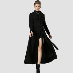 Black wool coatlong trench coat womens coats Dress coat swing