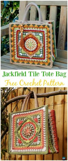 The Jackfield Tile Tote Bag Free Crochet Pattern - Crochet Handbag Free Patterns Instructions
